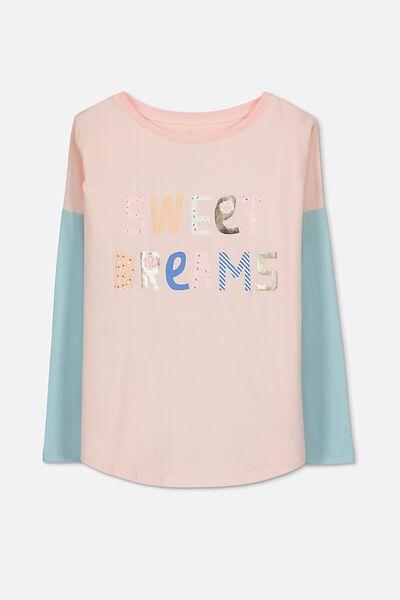 Mila Ls Slouch Sleep Top, PALE PINK/SWEET DREAMS