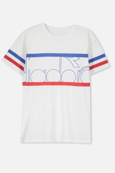 Diadora Drop Shoulder Short Sleeve Tee, WHITE/DIADORA PANEL