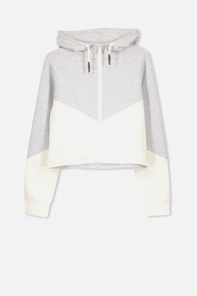 Zip Thru Hooded Fleece, SOFT GREY MARLE/DK VANILLA