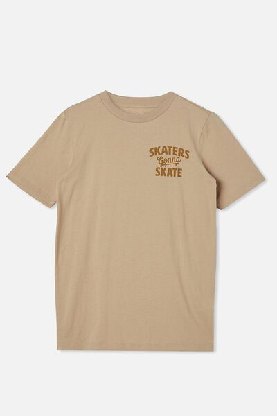 Free Boys Skater Short Sleeve Tee, SEMOLINA/SKATERS GONNA SKATE