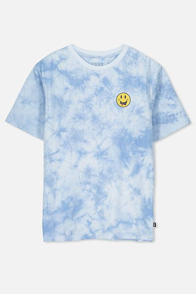 Oversized Tee, BLUE TIE DYE/SMILEY