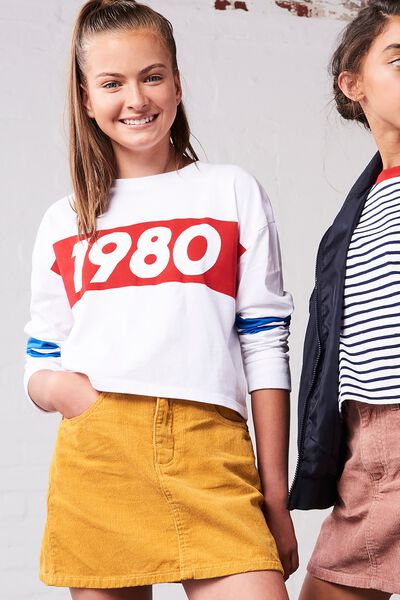 Girls Drop Shoulder Ls Tee, WHITE/1980