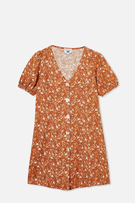 Luna Short Sleeve Dress, ROASTED ALMOND/ABSTRACT DITSY