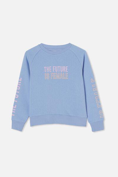 Boxy Crew Neck Jumper, DUSK BLUE/ FUTURE IS FEMALE