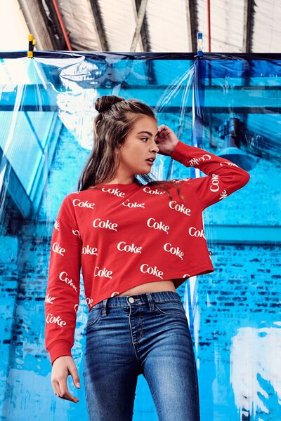 Girls Licence Ls Tee, LCN CC/RACING RED DIAGONAL COKE