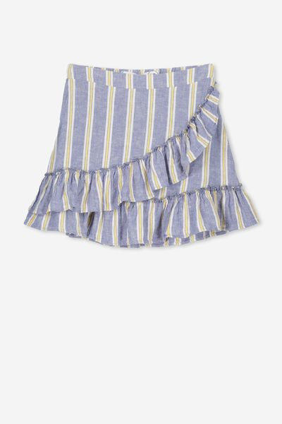 Winnie Ruffle Skirt, YOKE BLUE STRIPE