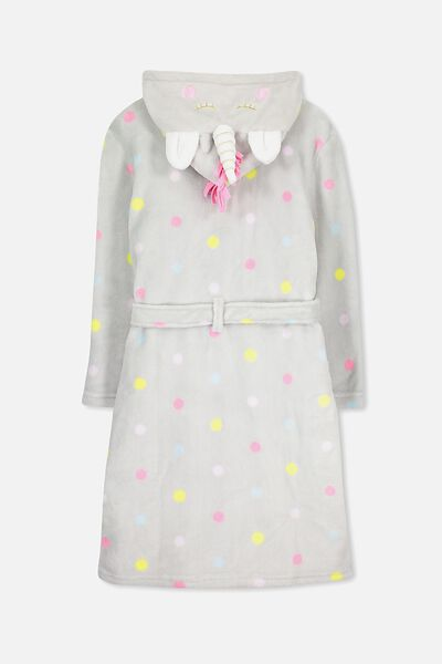 Free Girls Hooded Gown, FOSSIL GREY/UNICORN