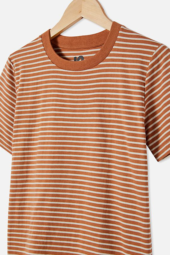 Free Boys Core Short Sleeve Tee, AMBER BROWN / RAINY DAY STRIPE