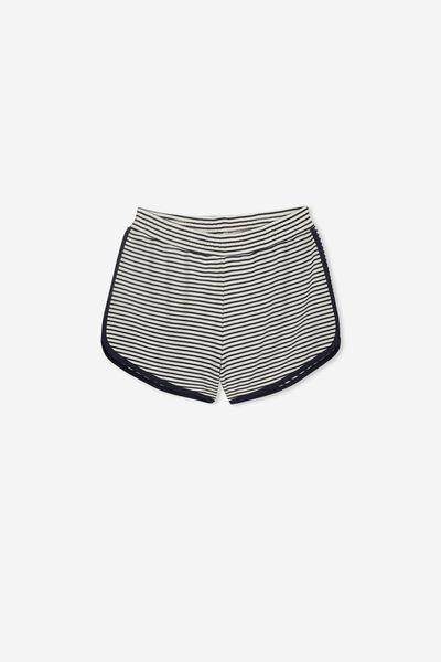 Girls Knit Jogger Short, DK VANILLA/NAVY STRIPE