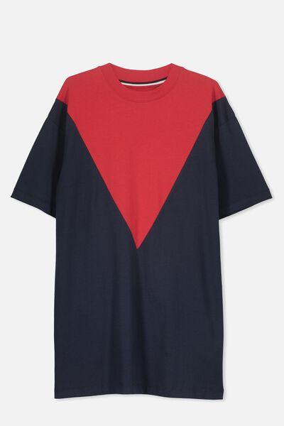 Boyfriend Tshirt Dress, NAVY/RED CHEVRON