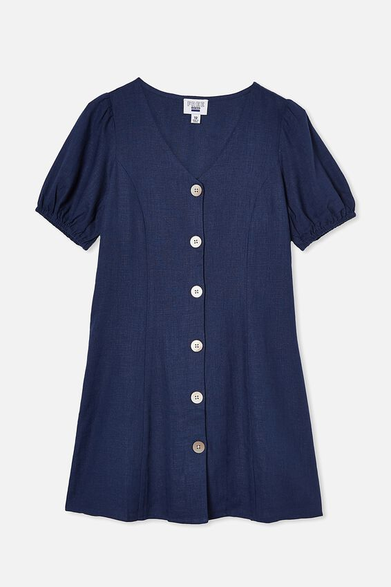 Luna Short Sleeve Dress, INDIGO