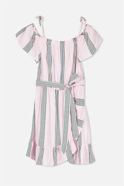 Off Shoulder Wrap Dress, MULTI STRIPE