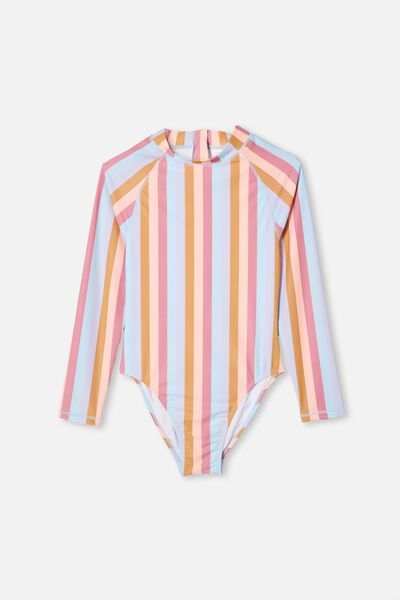 Lindsay Long Sleeve One Piece, SUNSET STRIPE