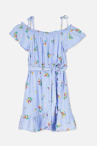 Off Shoulder Wrap Dress, BLUE FLORAL