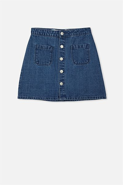Button Denim Skirt, RICH MID INDIGO