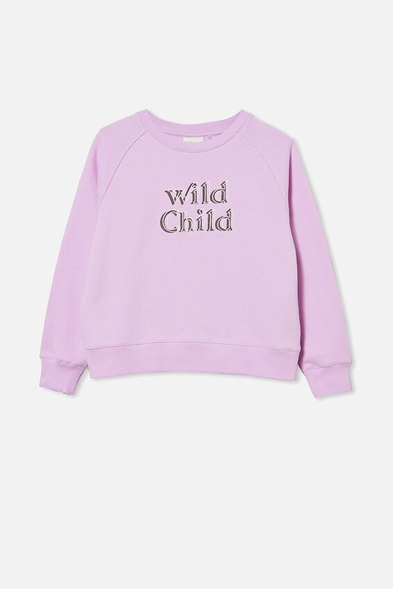 Boxy Crew Neck Jumper, PALE VIOLET/ WILD CHILD