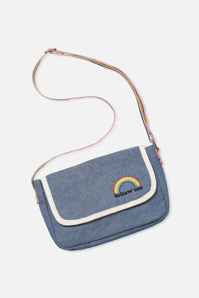 Free Denim Crossbody Bag, INDIGO/RAINBOW