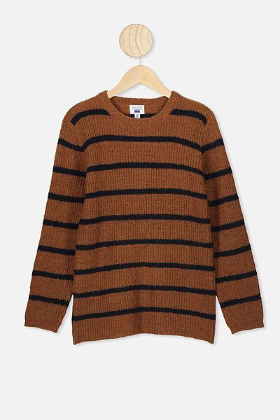 Drake Knit Crew, RUSTY NAVY STRIPE