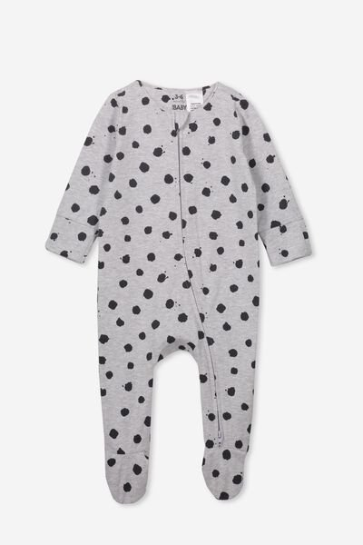 The Long Sleeve Zip Romper, CLOUD MARLE/INK SPOT
