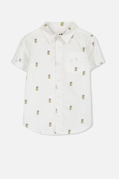 Jackson Short Sleeve Shirt, WHITE/LUCKY CAT