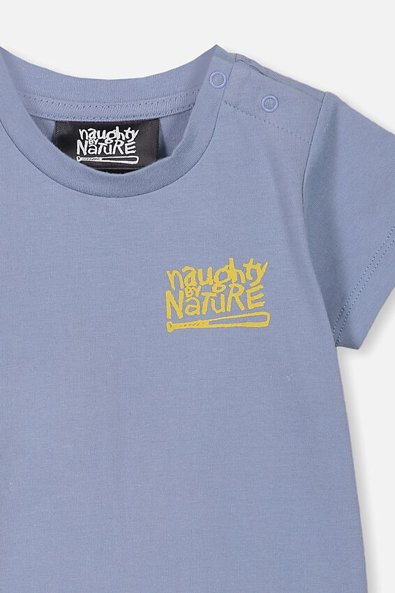 Naughty By Nature Short Sleeve Baby Tee, LCN MT DUSTY BLUE NAUGHTY BY NATURE