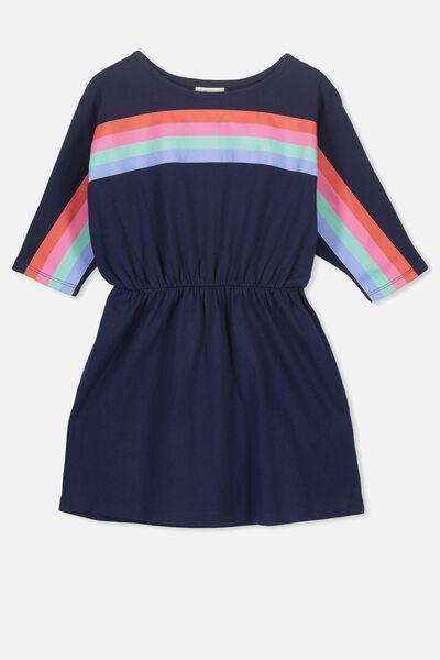 Marita Batwing Dress, PEACOAT/RAINBOW CHEST STRIPE