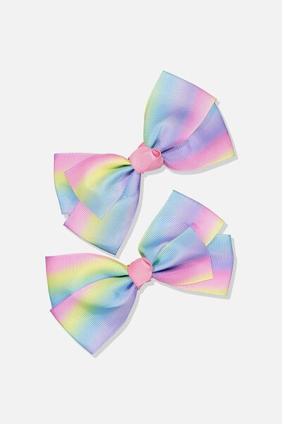 Big Bow Clips, RAINBOW OMBRE 2PK