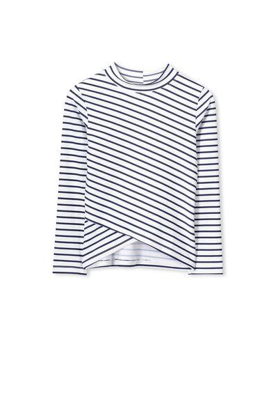 Sidney Long Sleeve Rash Vest, VANILLA/PEACOAT STRIPE