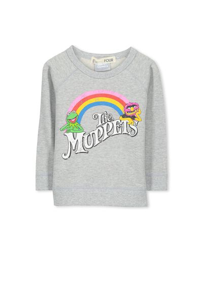Lux Raglan Sweat, THE MUPPETS RAINBOW/LIGHT GREY MARLE