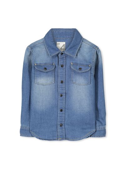 Adam Denim Shirt, WASHED BLUE