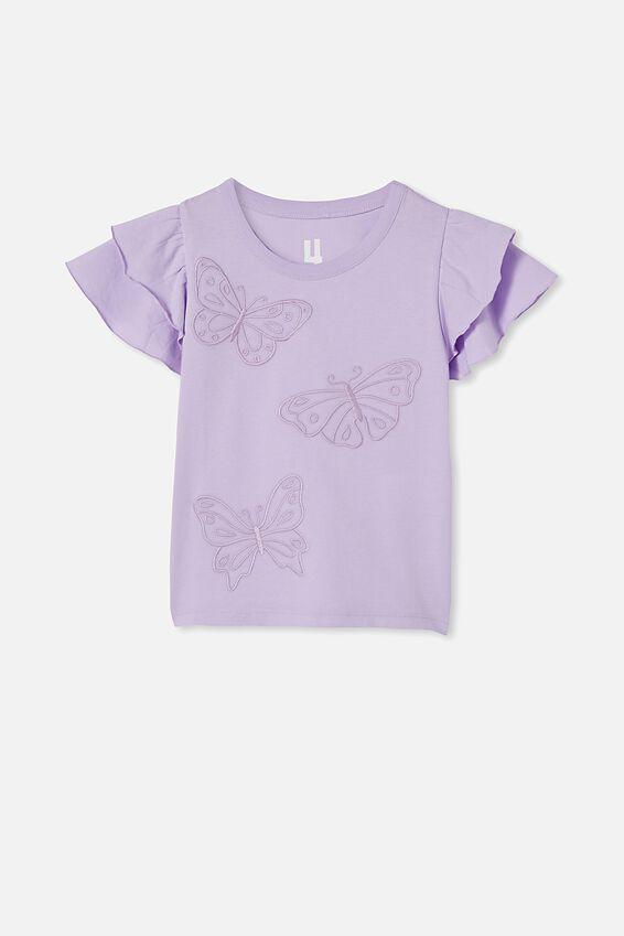 Fleur Flutter Sleeve Top, VINTAGE LILAC/BUTTERFLIES