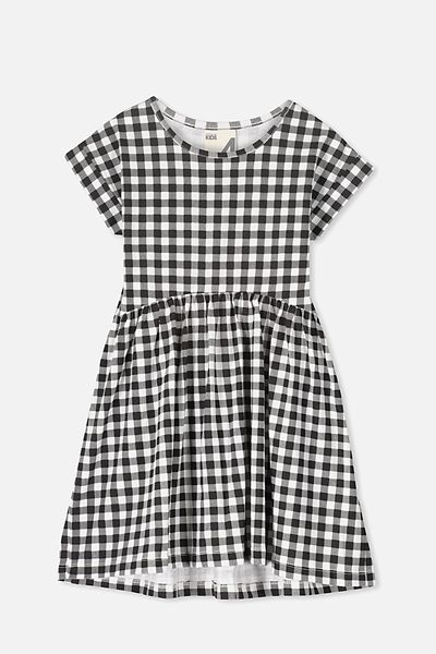 Nicola Short Sleeve Dress, VANILLA/PHANTOM GINGHAM