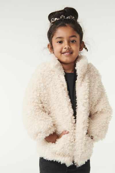 Tash Teddy Slouch Jacket, CREAM