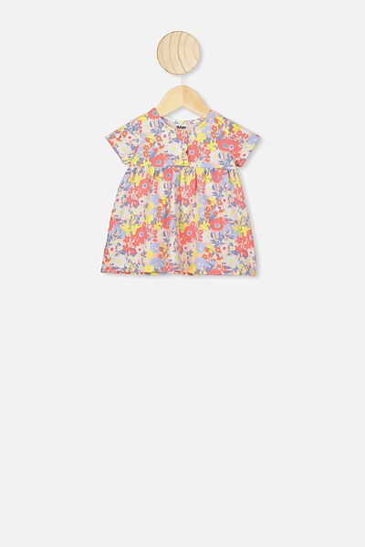 Milly Short Sleeve Dress, PASTEL PEACH/MEADOW FLORAL