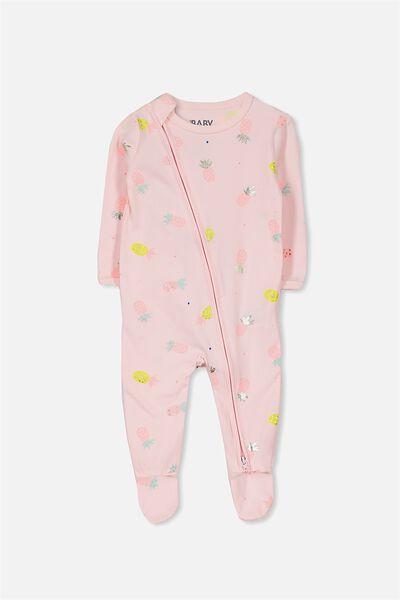 Sleep Mini Zip All In One Jumpsuit, BUBBLEGUM PINK/PINEAPPLES