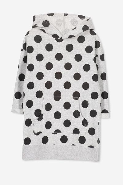 Viola Long Sleeve Hood Dress, LT GREY MARLE/POLKA DOT