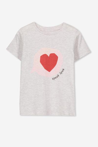 Penelope Short Sleeve Tee, SUMMER GREY MARLE/SPEAK LOVE/MAX