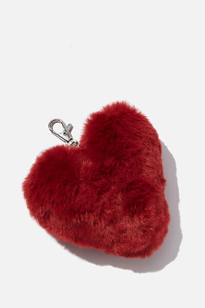 Kids Pom Pom Bag Charm, RED HEART