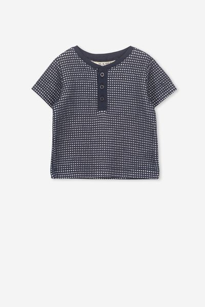 Sully Button Short Sleeve Tee, INDIAN INK