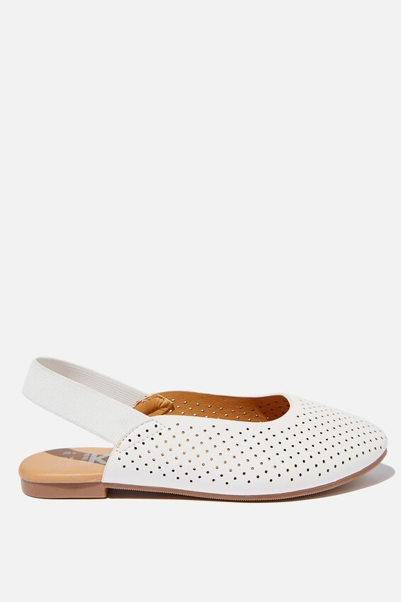 Flat Slingback, WHITE PERFORATED