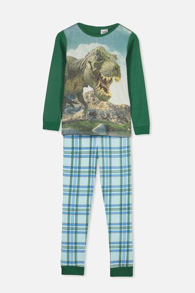 Personalised Boys Long Sleeve Pyjama Set, PHOTO T-REX PERSONALISED
