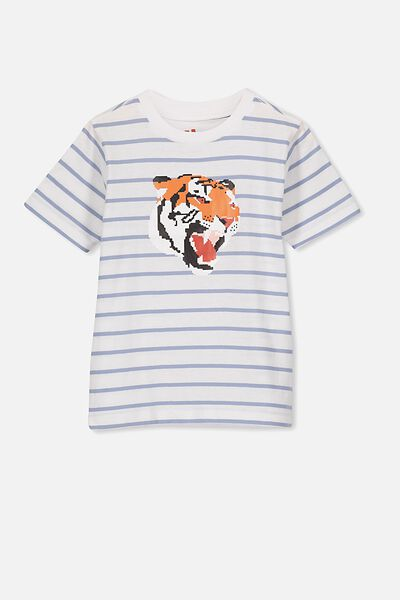 The Downtown Short Sleeve Tee, DUSTY BLUE/TIGER
