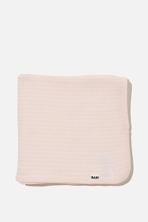 Organic Newborn Blanket, CRYSTAL PINK/MILK SALLA STRIPE