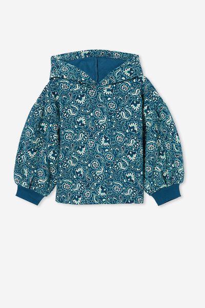 Tilly Puff Sleeve Hoodie, SUBMARINE BLUE/PASADENA PAISLEY