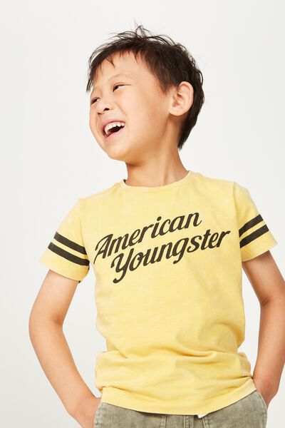 Skater Short Sleeve Tee, MUSTARD WASH/AMERICAN YOUNGSTER