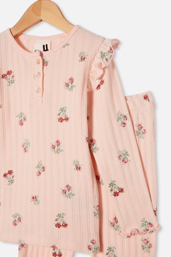 Layla Long Sleeve Pyjama Set, FLORAL CRYSTAL PINK
