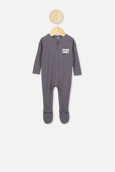The Snug Long Sleeve Zip Romper, LCN BR RABBIT GREY/RUN DMC OCELOT