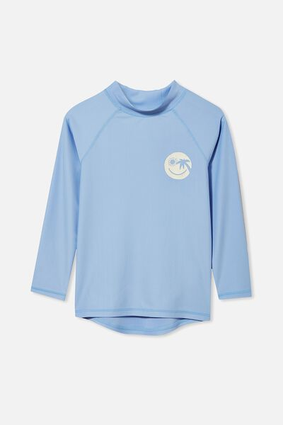 Flynn Long Sleeve Raglan Rash Vest, DUSK BLUE/SMILE