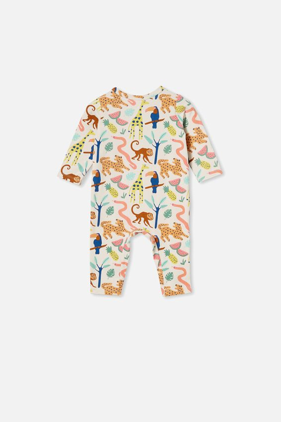 The Long Sleeve Snap Romper, DARK VANILLA/MONKEY MAGIC