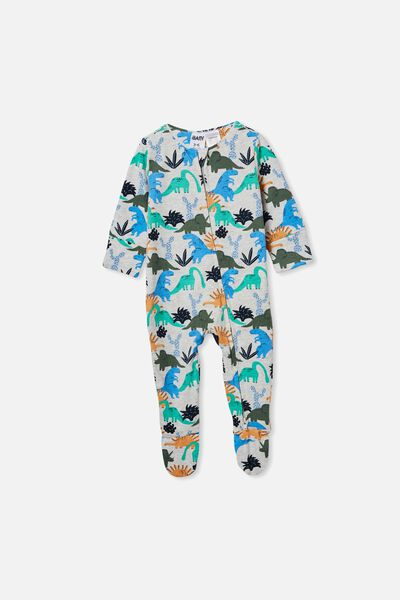The Long Sleeve Zip Romper, CLOUD MARLE/DINO PARTY